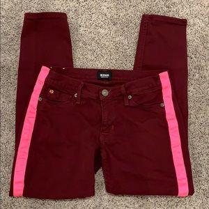Hudson Red Skinny Jeans w Pink Stripe 25